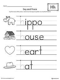 Letter H Beginning Sound Words Say and Trace Worksheet