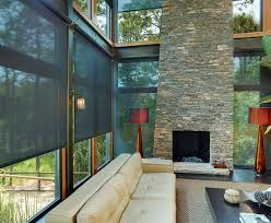 Shades By Design Indianapolis Solar Shades Living Room With Stone Fireplace