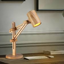 Desk Lamp with Wooden Shade