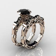 art masters caravaggio 14k rose gold 1 0 ct black diamond enement ring wedding band set r623s