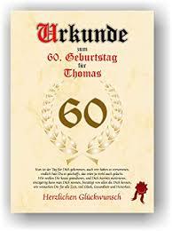 Urkunde Zum 60 Geburtstag Glückwunsch Geschenkurkunde