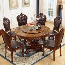 2019 round natural marble rubber wood dining table round table red brown solid wood dining table small apartment turntable dinette combination from