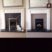 fireplace upcycle annie sloan french linen painted onto black marble fire spray painted from