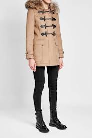 burberry wool duffle coat with fur trimmed hood camel women burberry coats m97e7832