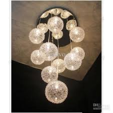 excelent hanging ball chandelier 10 glass aluminum wire living room pendant light dining kitchen stair