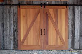 unfinished z panel double barn doors with iron handle for country style interior and exterior door idea