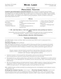 Preschool Teacher Resume Examples Preschool Teacher Resume Samples