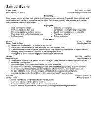 Fast Food Worker Resume