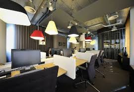 workspace lighting. Workspace Lighting And Furniture At New Office Interior E