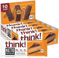 This is the perfect pie for desserts or for a snack. Think Keto Chocolate Peanut Butter Pie Protein Bars For Breakfast