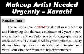 makeup artists job in express tv