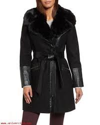 via spiga black faux leather faux fur trim belted wool blend coat 2017 irregular choice womens coats hqhfbeopu13v