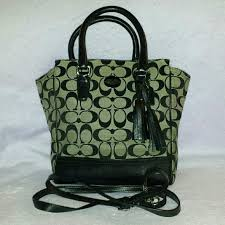Coach legacy mini tanner tote black and grey