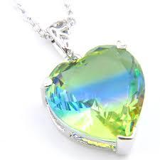 luckhyshine 6pcs vintage shiny green bi colored tourmaline crystal gems 925 sterling silver women wedding engagement pendants necklace jewe