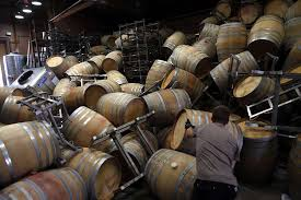oak barrels stacked top. Saintsbury Winery\u0027s Ry Richards Works On Removing The Stacks Of Empty Barrels That Tumbled Over After Oak Stacked Top