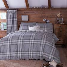 kelso charcoal tartan cotton duvet cover set