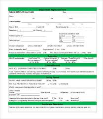 Application For Employment Form Employment Forms Template