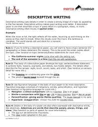 exles of descriptive essay about a