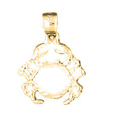 14k gold crab pendant yellow white or rose