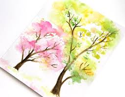 watercolor spring tree tutorial