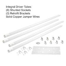 Dimmable tubes can be used in areas where adjustable brightness is desired. Eti 48 Watt 4 Ft Linear Led Tube Light Bulb Retrofit Conversion Kit Replaces 8 Ft T8 T12 Fluorescent Bulb 7200 Lumen 5000k 64101162 The Home Depot