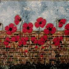 folk art flowers brick wall print of painting poppies in