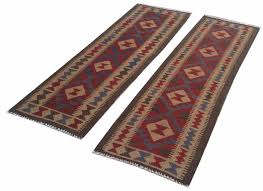 double face pair of hand woven afghan maimana kilim carpet runner rug 193