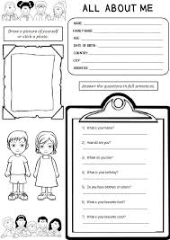 All About Me Worksheets Pdf All About Me Worksheetstake The Pen