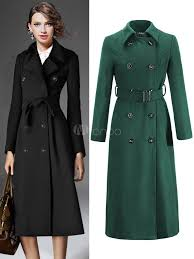trench women coat wrap coat long sleeve winter overcoat for women no 1