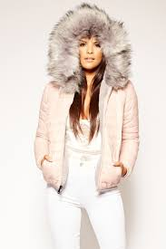 michi pink grey padded faux fur hood reversible jacket