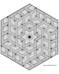 Diamond Hexagon Geometric Mandala Coloring Page
