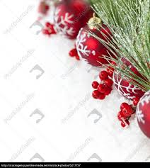 Christmas Ornaments Border Stock Photo 5217757 Red Christmas Ornaments Border