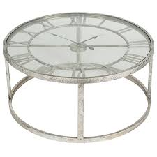 antique silver metal round clock coffee table