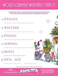 Word Scramble With Fancy Nancy Printable Activities Icanread Com