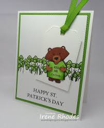 St Patrick's Day Card by Irene Rhodes | Winston's Birthday Stamp Set &  Waves Stencil by Newton's Nook Designs #newtonsnook #… | Birthday stamps,  Wave stencil, Cards