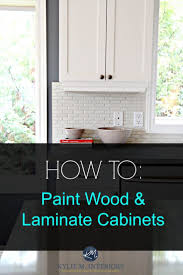 a tutorial on how to paint laminate cabinets with no prep work this is my second post with a diffe method on how i painted my laminate c