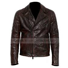 mens classic brown leather motorcycle quilted jacket