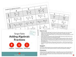 adding algebraic fractions target table