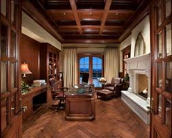 the perfect home office. example of a classic freestanding desk dark wood floor home office design in phoenix with beige the perfect r