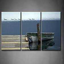 3 panel wall art old boat on lake wood dock with black american ducks painting pictures on boat wall art with amazon 3 panel wall art old boat on lake wood dock with black