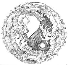 Small Picture Sun and Moon Dragon Yin Yang Coloring pages colouring adult