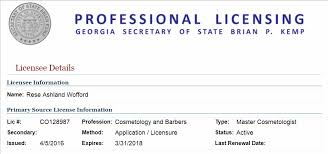 rese wofford cosmetology license