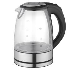 megachef 1 7lt glass and stainless steel electric tea kettle