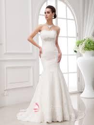 Mermaid Designer Strapless Beaded Empire Waist Mermaid Wedding Dress Lunss