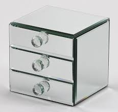mirrored jewelry box with drawers