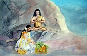 parvathi offering flowers to lord shiva watercolors of nature aquarellbilder