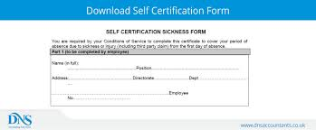 Self Cert Doctors Note Download Nhs Self Certification Form Dns Accountants