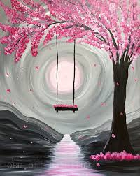 handpainting abstract paint nite whimsical spring blossom canvas picture handmade wall art swing in pink tree