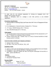 100 Resume Format For Experienced Sample Template Of A Fresher Mba