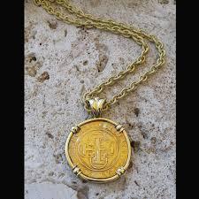 spanish cob one escudo coin pendant circa 1504 1555